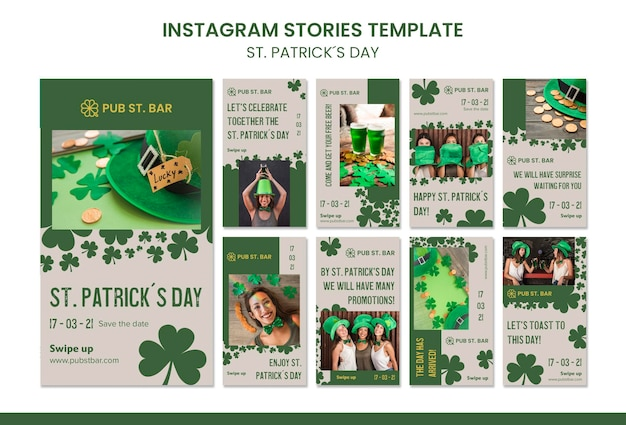 St. patrick's day instagram stories template