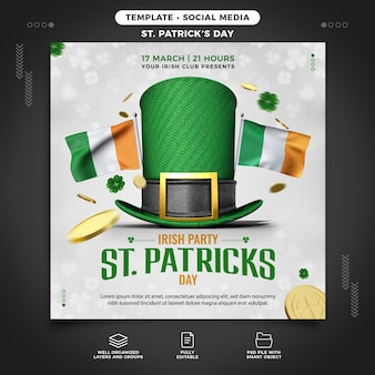 St. patrick's day party template for instagram feed