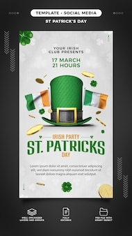 St. patrick's day party template for instagram story