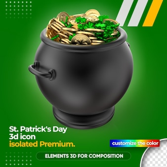 St. patrick's day treasure with golden coins