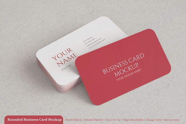 Stack of 90x50 mm modern rounded business card mock-up with textured paper