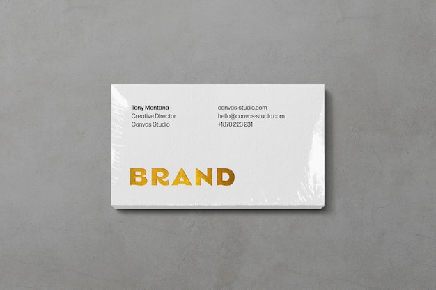 Stack business card mockup with plastic overlay