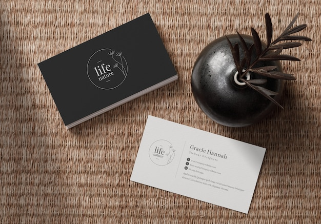 Stack of business cards mockup on placemat