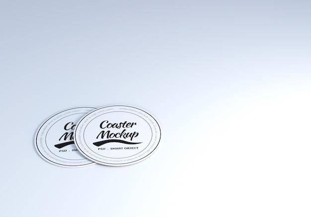 Stack circle table coaster mockup
