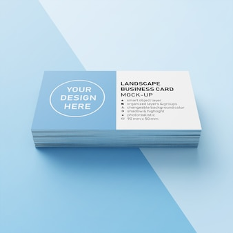 Stack of editable realistic 90x50 mm horizontal business card with sharp corner mock up design template in front view