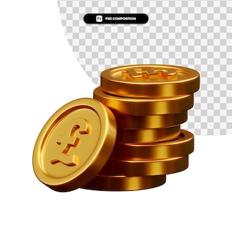 Stack of golden coins in 3d rendering isolated