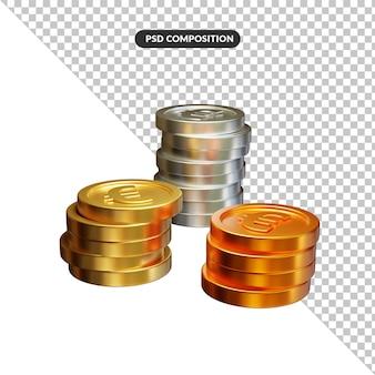 Stack of golden coins in 3d rendering