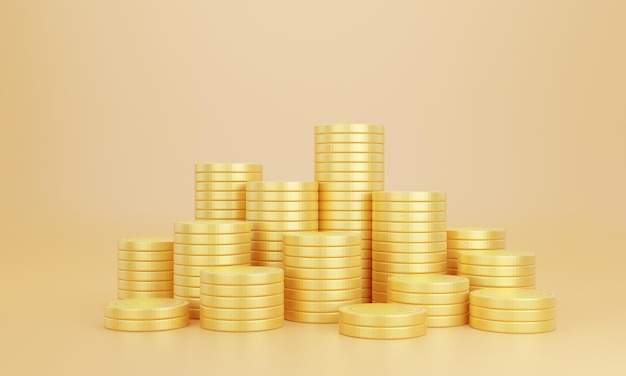 Stack of golden coins on yellow background