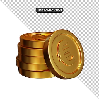Stack of golden euro coins banking and finance concept