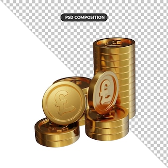 Stack of golden pound coins3d rendering isolated