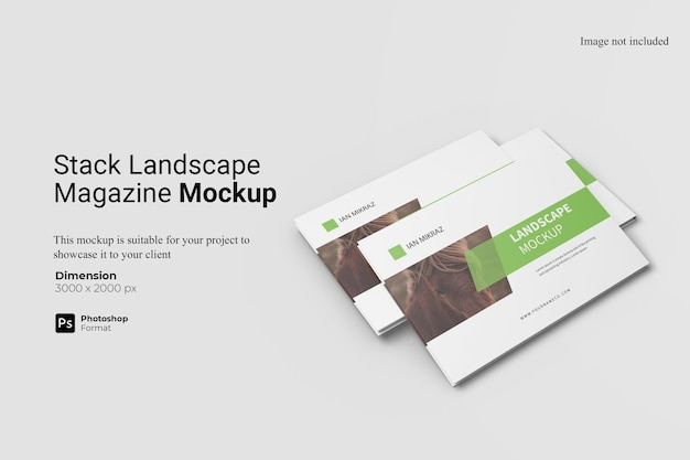 Stack landscaped magazine mockup design