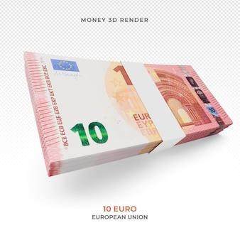 Стек банкноты 10 евро деньги 3d визуализации