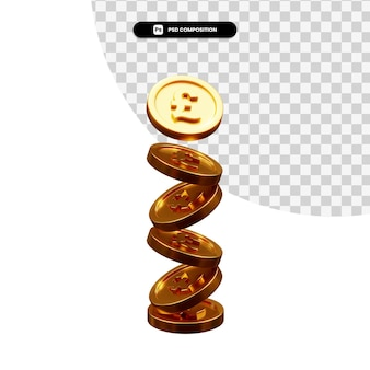 分離された黄金のコイン 3 d レンダリングのスタック