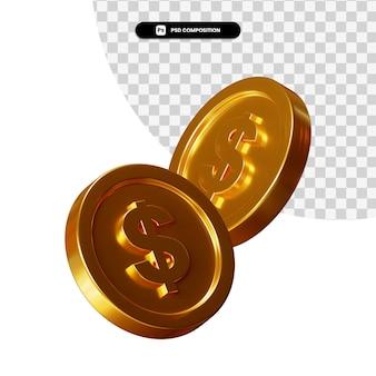 Стек золотых монет в 3d-рендеринге изолированы