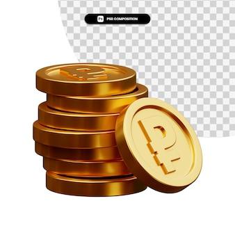 分離された3dレンダリングで金貨のスタック