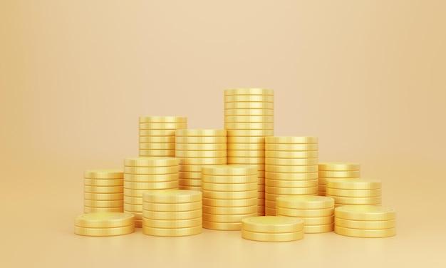 노란색 바탕에 황금 동전의 스택