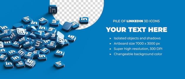 Стек разбросанных 3d значков кнопки логотипа linkedin концепция социальных сетей с пространством copyspace