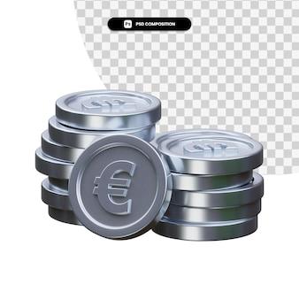 分離された銀貨 3 d レンダリングのスタック