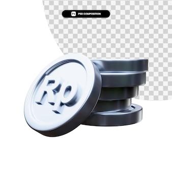 고립 된 3d 렌더링에 은색 동전의 스택
