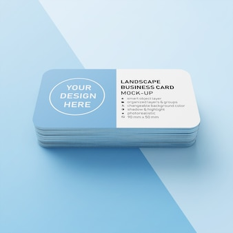 Stack of ready to use premium realistic 90x50 mm landscape business card with rounded corner mockup design template in front view