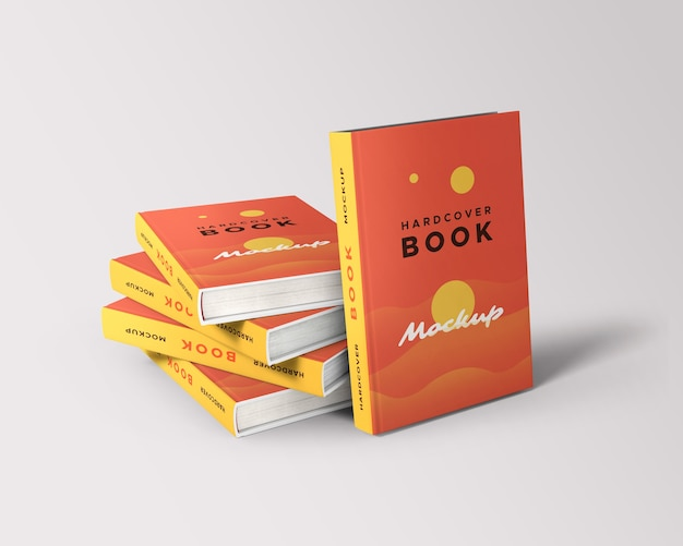 Stack of realistic hardcover books mockup