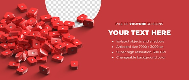 Stack of scattered youtube logo icons 3d render social media banner