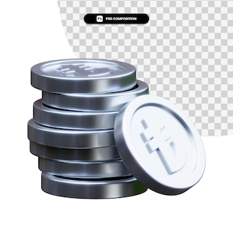 Stack of silver coins in 3d rendering isolated