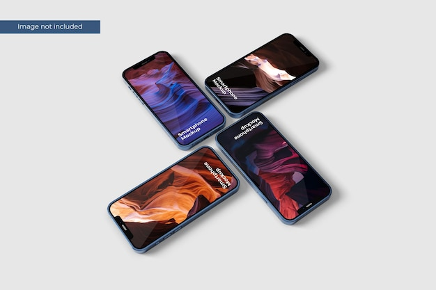 Stack smartphone mockup for presenting your project