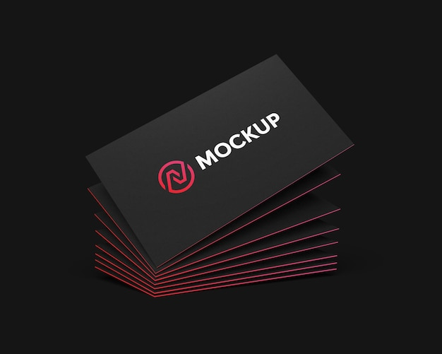Stacked business card mockup float with gradient color edge
