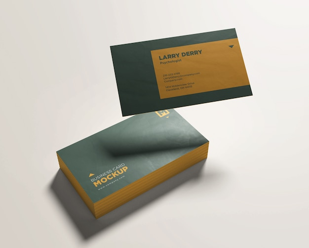 Stacked business card mockup with a floating card