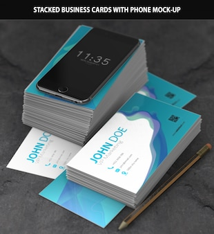 Stacked business cards with iphone mockup