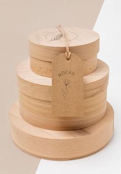 Mock-up di scatole di cartone per imballaggi ecologici impilati