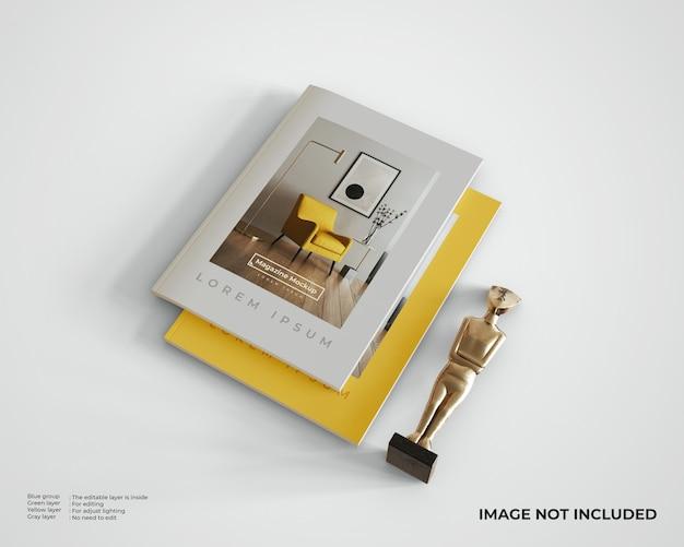 동상이있는 누적 된 잡지 모형, 평면도