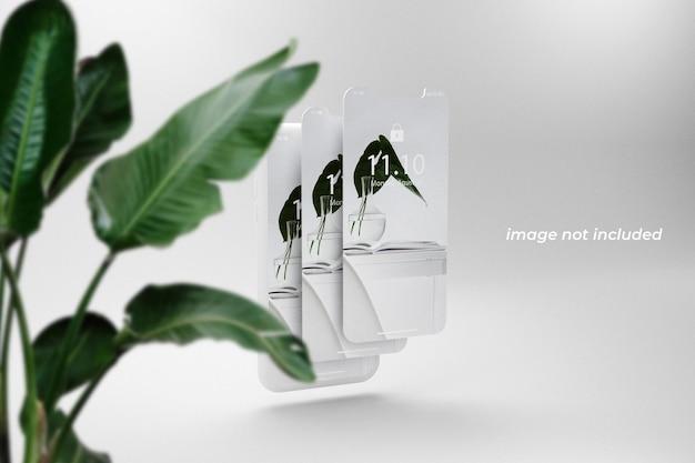 Сложенный макет экрана телефона, вид спереди