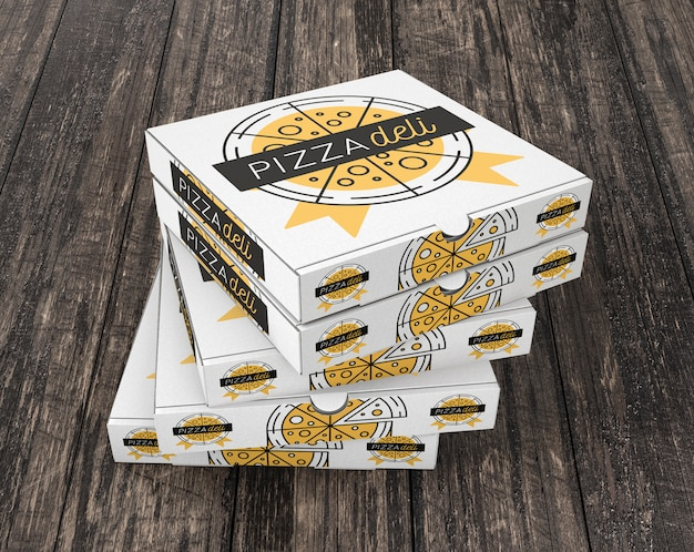 Stacked pizza box mockup
