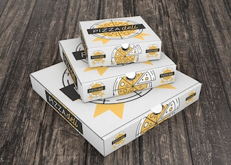 Stacked pizza box mockup