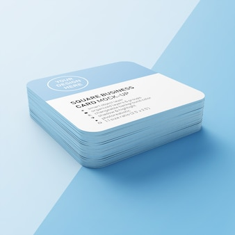 A stacked of realistic 90x50 mm square business card with round corners mock ups design templates in perspective view
