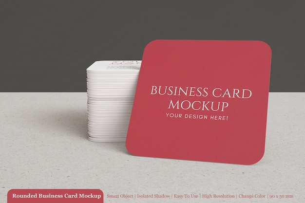 Stacked square modern clean rounded business card mock up with textured paper