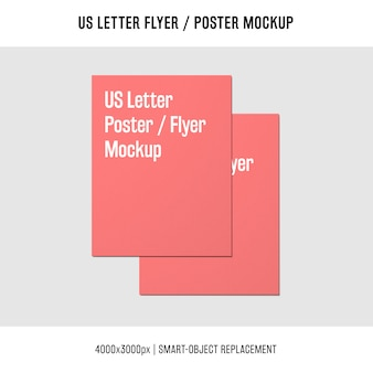 Stacked us letter flyer or poster mockup
