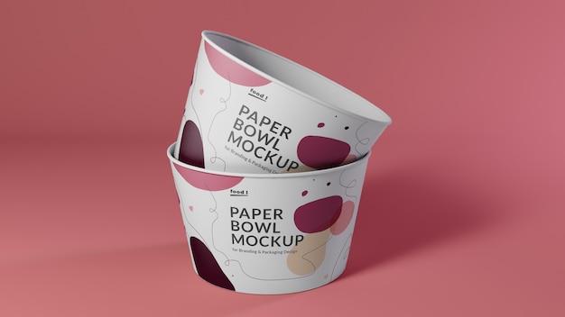 Stacking paper bowl mockups