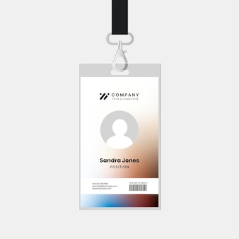Staff id badge template psd for tech company corporate identity