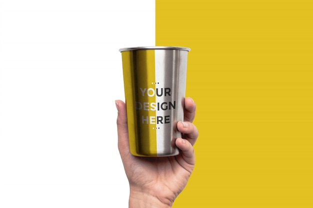 Stainless steel cup mockup