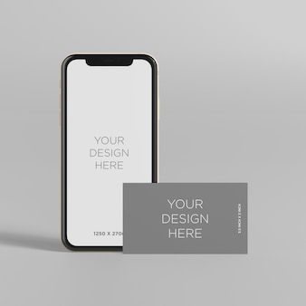 Stand smartphone mockup with business card front view