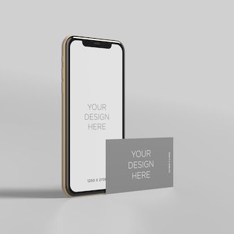 Stand smartphone mockup with business card perspective view