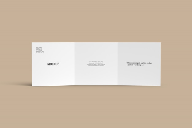 Stand square trifold brochure mockup