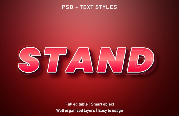 Stand text effects style editable psd