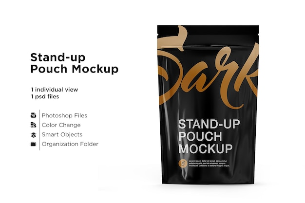 Stand-up pouch mockup isolated
