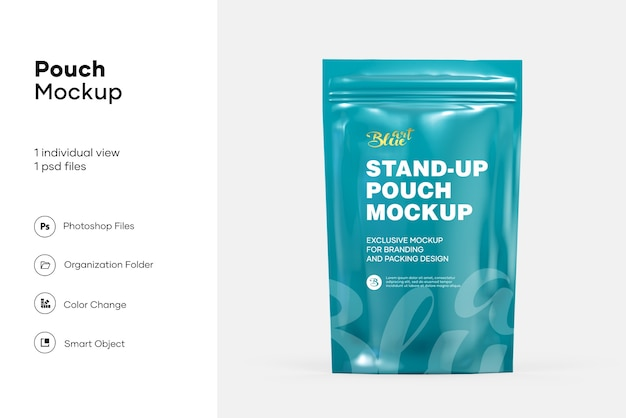 Stand up pouch with zipper mockup isolated