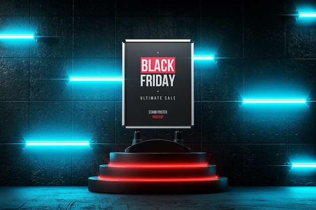 Stand with poster on pedestal with backlight mockup