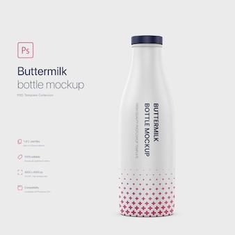 Standing buttermilk bottle mockup